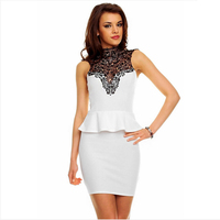 TFGS New Design Plus Size Women Lace Dress Fashion Office Lace High Necked Peplum Party Bodycon
