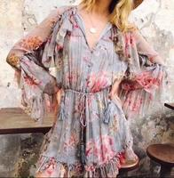 WISHBOP NEW Woman 2017ss Fashion Silk Floral Print Mercer Floating Playsuit V Neck Long Sleeves With