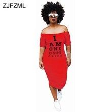 ZJFZML Plus Size Casual Bodycon Dress Women Cold Shoulder Letter Printed Package Hip Dress Autumn Slash Neck Short Sleeve Dress round neck cold shoulder womens bodycon dress