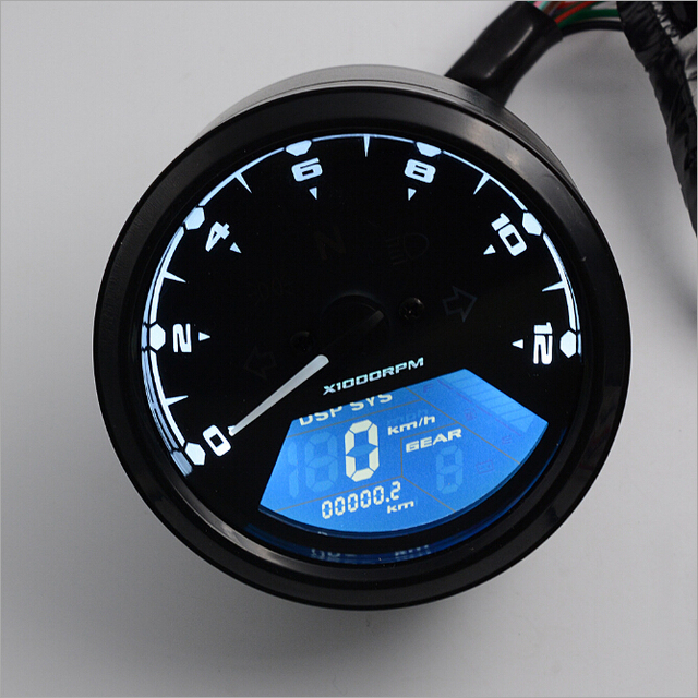 Motorcycle LED Backlight Tachometer Instrument Left and Right Turn Signal High Low Beam Alert Function Motorcycle Instrument