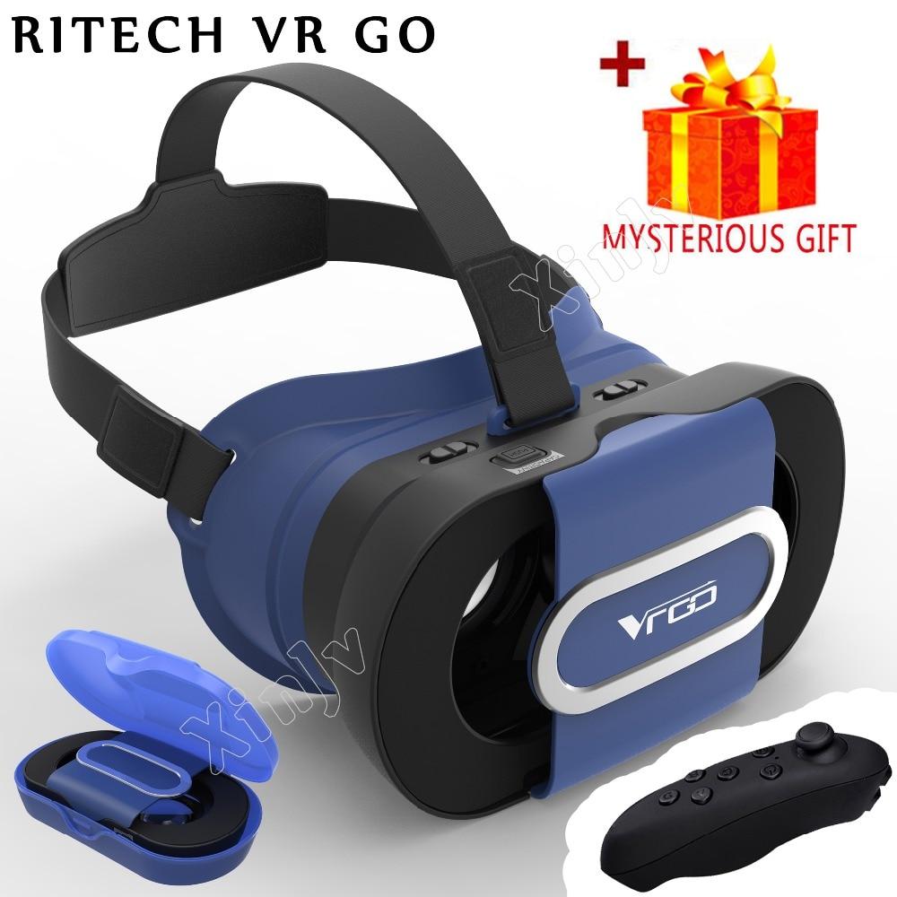 Casque Google Cardboard RITECH 3 D VR Box 3D Virtual Reality Glasses Goggles Headset Helmet For Smart Phone Smartphone Len Lense