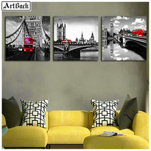 Triptych London scenery 5d diamond painting flowers full square 3d round diamond embroidery mosaic 25 style stickers(China)