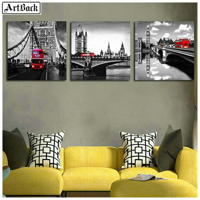 Triptych London scenery 5d diamond painting flowers full square 3d round diamond embroidery mosaic 25 style stickers