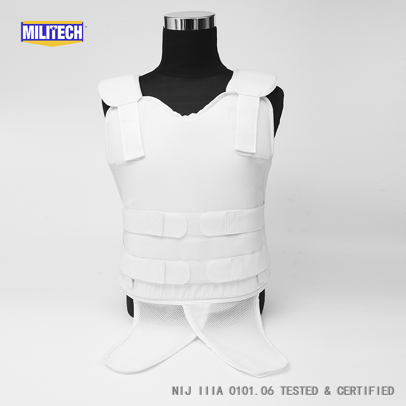 Militech White NIJ IIIA 3A Concealable Under Shirt Twaron Aramid Bulletproof Covert Ballistic Bullet Proof Vest Body Armor Vest bulletproof vest military tactical army concealable bullet proof bullet proof vest chaleco antibalas low profile body armor