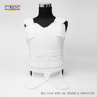 Militech White NIJ IIIA 3A Concealable Under Shirt Twaron Aramid Bulletproof Covert Ballistic Bullet Proof Vest Body Armor Vest