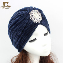 2016 New Fashion India Cap Womens Turban Hat Hijab Headband coral velvet Jewel Brooch Turbante Ear Warmer G-299