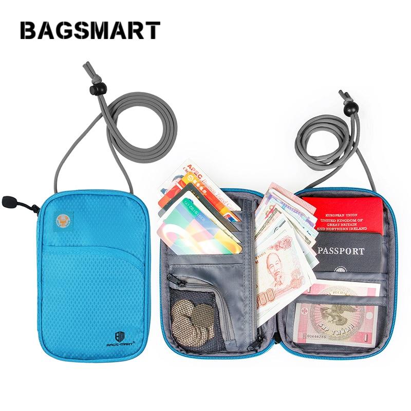 BAGSMART Mutifunction Travel Pass Portefolde Pass ID Card Holder Bankkort Organizer Bag Clutch Wallets lynlås taske taske