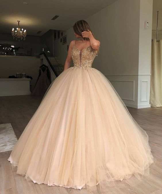 vestido de gala Newest Ball Gown   Prom     Dresses   Long Spaghetti Strap Tulle Evening Party Formal Gown