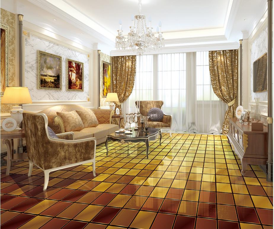 3d flooring golden color 3d checkered floor waterproof - Waterproof floor paint for bathrooms ...
