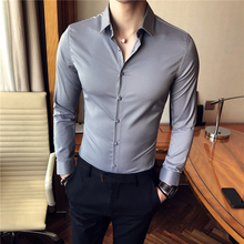 2018 spring new Korean version of the solid color fashion Slim free commerce long-sleeved shirt male British leisure shirt male 2017 new free shipping fashion black color slim straight leisure