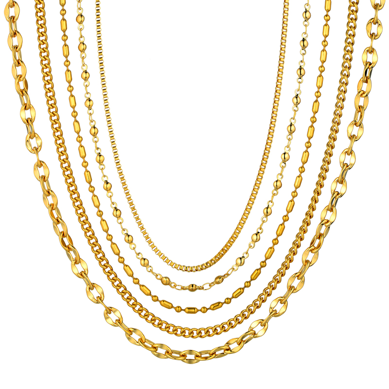 2mm mini two tone stainless steel chain necklace for women female dsc6316 aloadofball Images