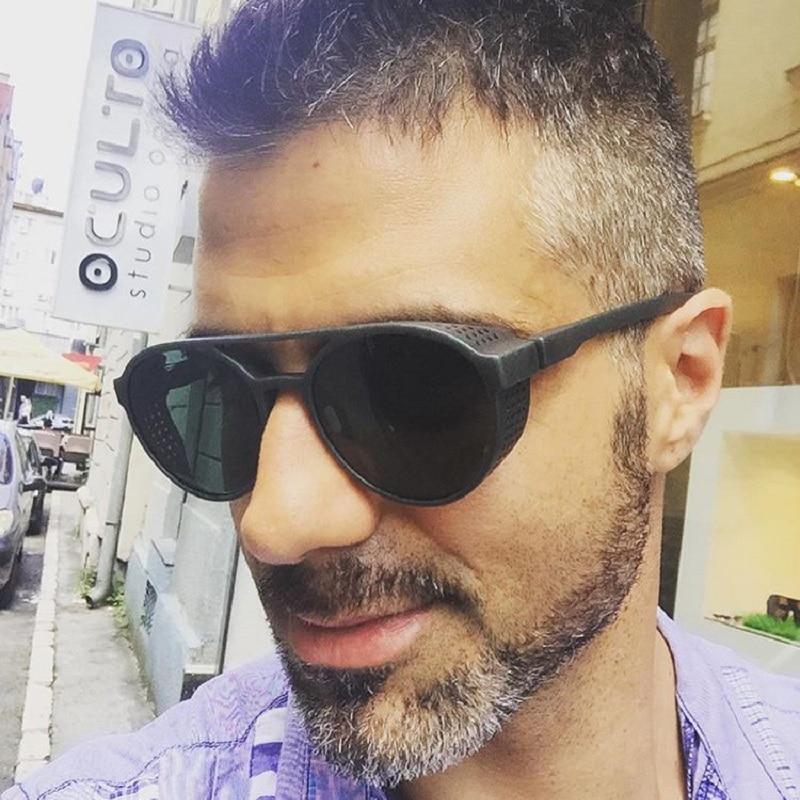 HOKU 2018 New Fashion SteamPunk Sunglasses Men Round Side Mesh Style Sun Glasses Brand Designer Vintage Punk Eyewear W268