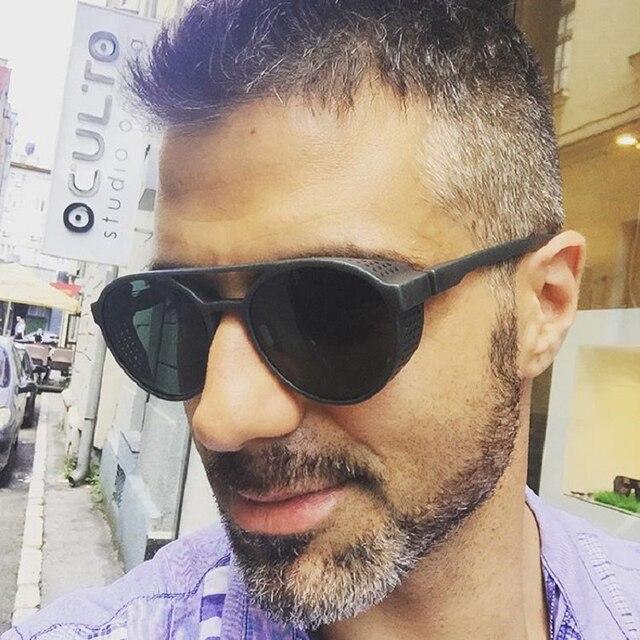 Hoku 2018 Новая мода Круглый Рамки стимпанк Стиль боковых сетчатых Солнцезащитные очки для женщин Для мужчин Брендовая Дизайнерская обувь Винтаж Защита от солнца Очки Óculos De Sol W268