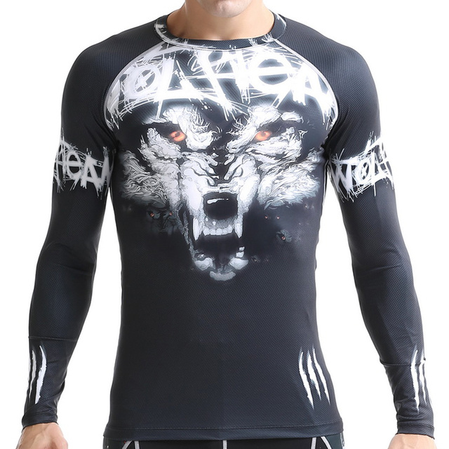 Unisex Wolf Printed Team Uniform Gym Compression Shirt Basketball Base  Layer Tees Women Tight Sports T-Shirt Men Workout Clothes ad9488655