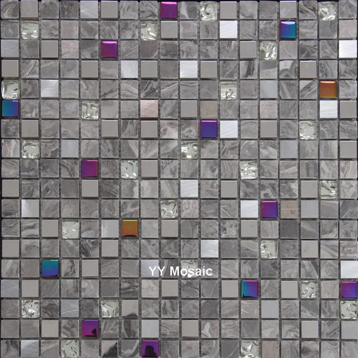 Grau Stein Gemischten Metall Regenbogen Glasmosaik Fliesen Für Küche  Backsplash Badezimmer Dusche U Bahn Grenze DIY Home Imporvement In Grau  Stein ...