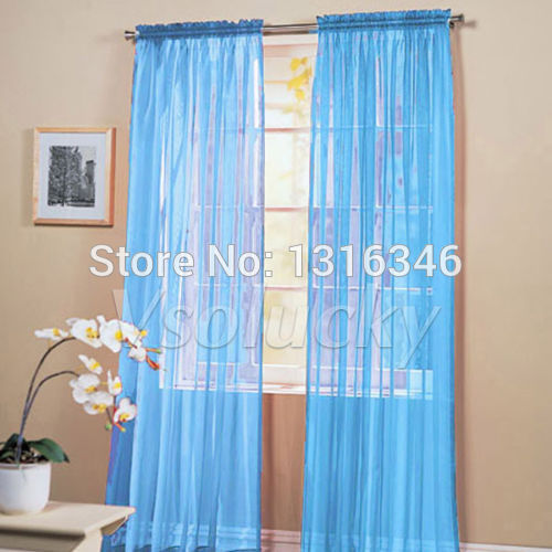 2 Turquoise / Sky Blue Solid Sheer Window Panel Curtains Drape Voile  Treatment Scarf Decor 60