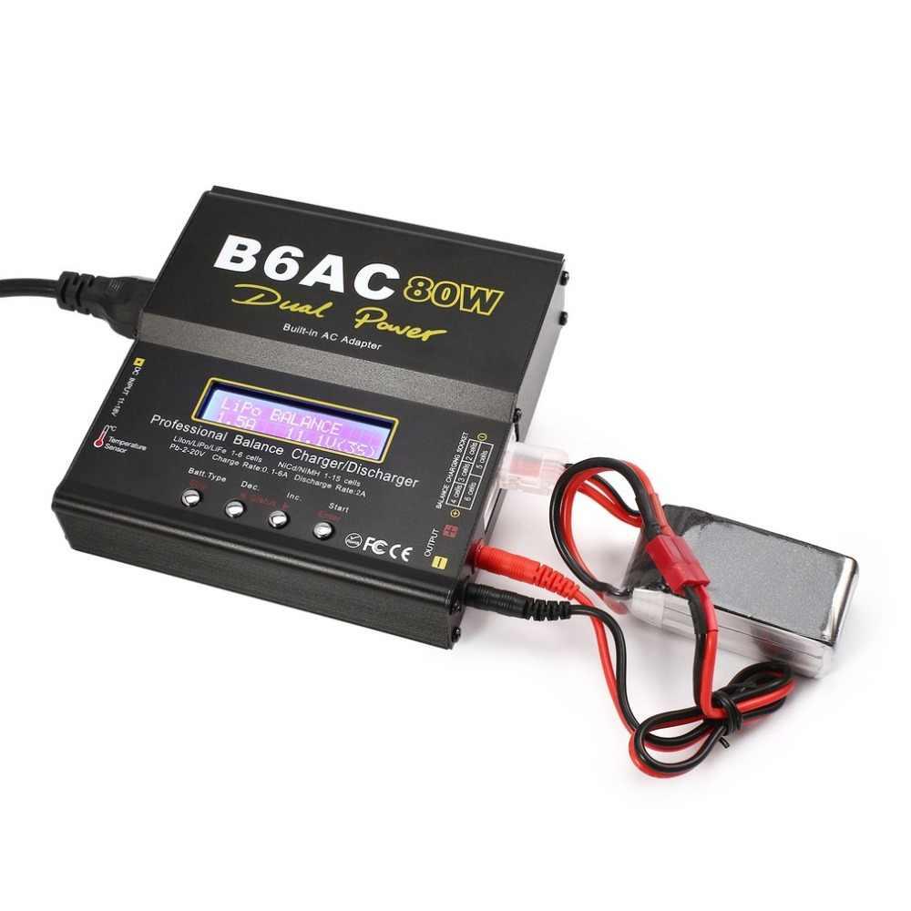 B6AC 80W 6A Lipo NiMH Li-ion Ni CD AC/DC RC Balance Charger 10W Discharger untuk mobil RC Drone Helikopter Pesawat Baterai