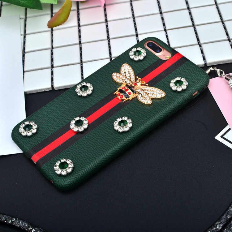 オリジナル蜂高級ラインストーンケース iphone × 8 7 プラス 6 s ケース幾何テクスチャダイヤモンド Pu レザーバック iphone 7 カバー