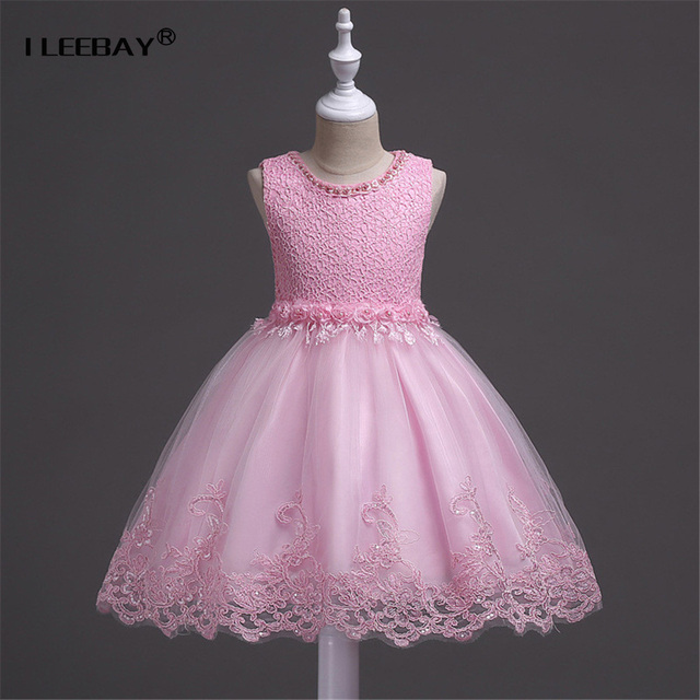 Luxury Baby Girls Formal Dress Brand Floral Kids Lace Princess Dress