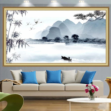 Abstract Painting Large Blue Mountain Landscape Canvas Nordic Posters and Prints Wall Art Chinese Print Ink