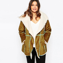 Plus size 5xl women new fashion suede nap lamb fur lapel patchwork loose casual female coat womens outwear coats ZJ1071