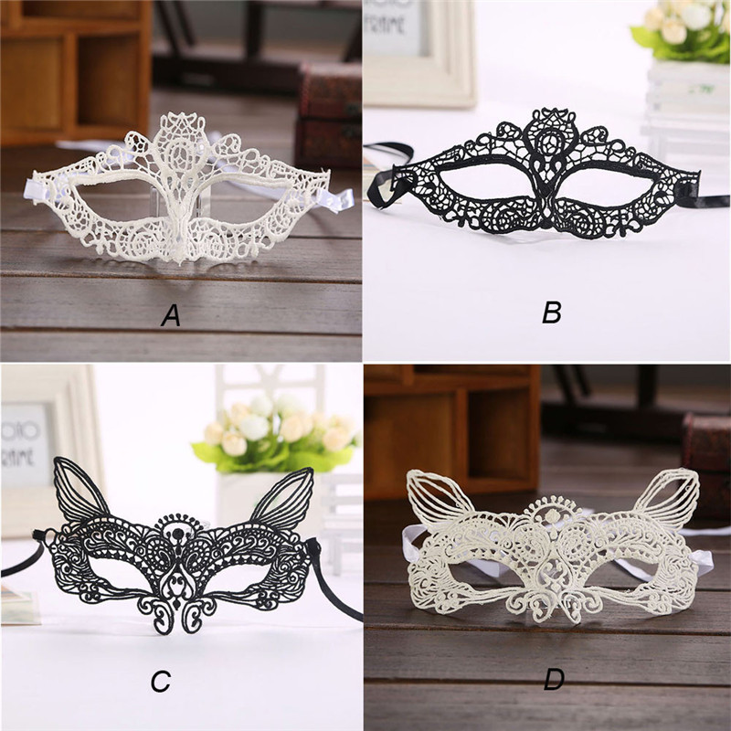 Eye Cover Halloween Masquerade Sexy Lady Black White Lace Mask hollow out Catwoman Eye C ...