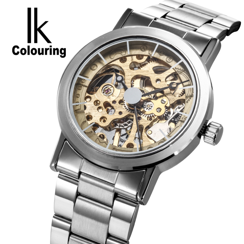 IK Colouring Brand Mechanical Hand Wind Watch Nail Scale Hollow Back Cover Luminous Hardlex Full Steel Business Men Watch ik colouring brand mechanical hand wind clock nail scale hollow back cover luminous hardlex full steel business men s watch