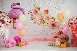 HUAYI Девушка первый день рождения розовый бумажный шарик цветы фотосессия фон Фламинго торт разбивает стены декоративный фон GY-1079