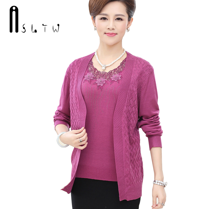 ASLTW M-XXXL Real Two Piece Set Sweater Fashion Women O Neck Long Sleeve Cardigan Plus Size Loose Women Sweater Suits