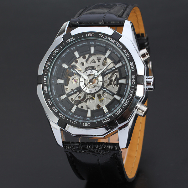 WINNER Men Famous Brand Watches  Mechanical Self Wind Wrist Watch Fashion Sports Hombre Leather Strap Mechanical WatchWINNER Men Famous Brand Watches  Mechanical Self Wind Wrist Watch Fashion Sports Hombre Leather Strap Mechanical Watch