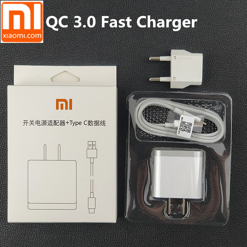 Original xiaomi mi 8 Charger mi8 QC 3.0 quick charge power adaptor For mi a1 6 6x 5 5x 5s a2 mi5 mi6 mi6x mix2s usb type c cable