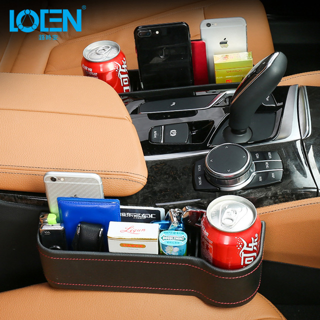 LOEN 1PC Auto Car Seat Gap Storage Pocket Organizer Between Seats PU Leather with Cup Holder for Mesh Black Brown Beige Red