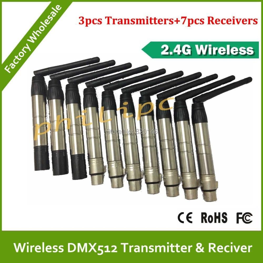 10PCS/Lot 2.4G DMX512 Wireless Transmitter+Receiver,LED Lighting Controller,Transceiver DMX 512 Control, Free Shipping 2 pcs lot transceiver dmx 512 control wireless transmitter