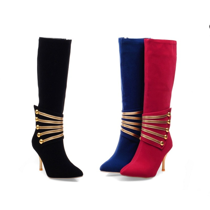 ФОТО Thin Heels 8cm hight Knee-High boots Ladies shoes woman winter Short Plush  woman casual shoes Solid  Comfortable
