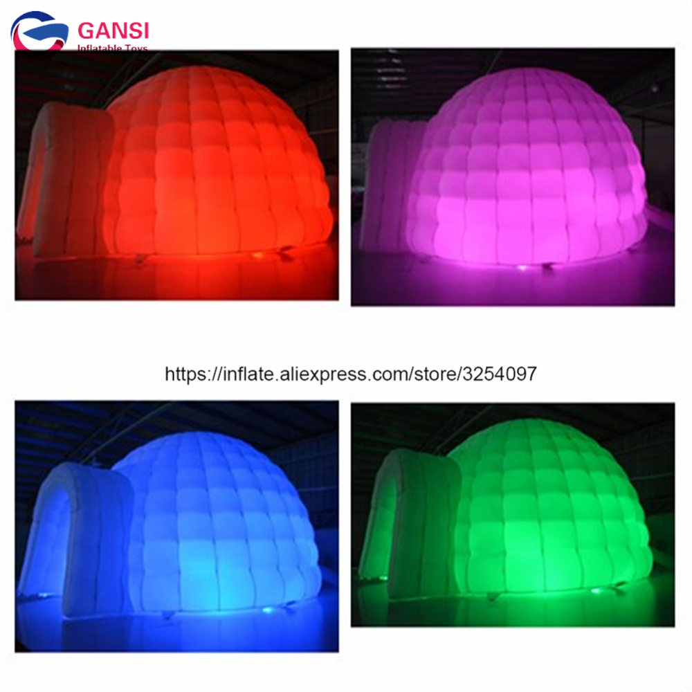 Color changing Led lighted inflatable dome tent with free blower ,4m diameter led inflatable igloo tent for rental 6 8x4x3 4m oxford cloth inflatable stage tent inflatable stage cover inflatable canopy tent for concert with free shipping