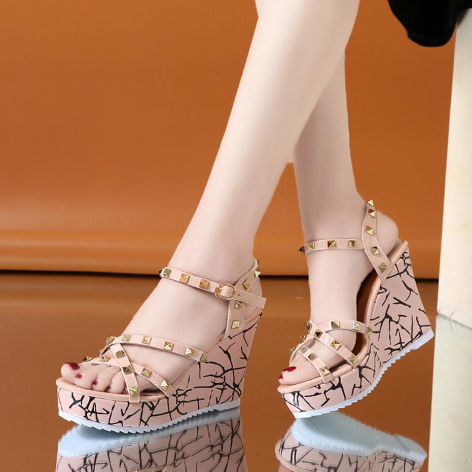 Summer Lady Fashion Wedge High Heels Sandals Elegant Rivets Women Heels Fashion Platform High Heels Wedge Sandals Female Shoes 26