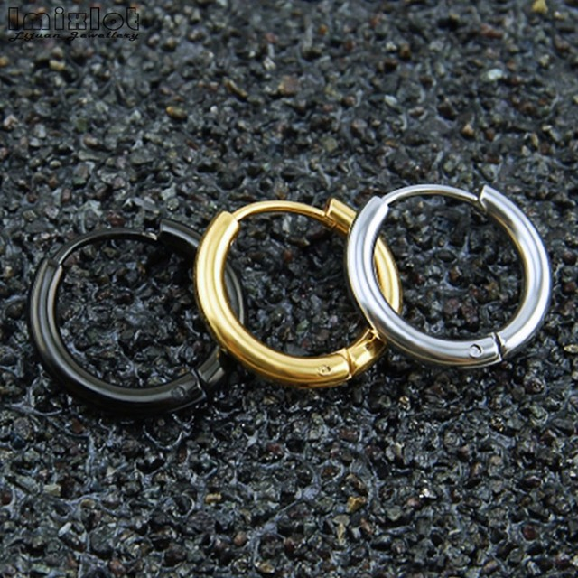 Punk Gold Stainless Steel Hoop Earrings Huggie Simple Style Gd Earring Circle Fashion For