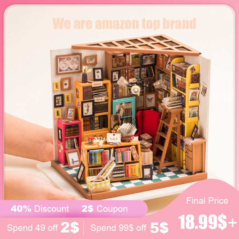 Robud DIY Dollhouse Miniature Doll House Furniture Wooden Dollhouse Kits For Doll Toys For Children Girl's Gift For Dropshipping