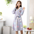 Autumn Winter Cute Bathrobes for Women RobeWith Hooded lady's long sleeve Flannel robe Mujer Sleepwear Lounges Nightgown Pyjamas