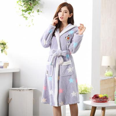 Roupões De Banho para Mulheres de outono Inverno Bonito RobeWith Com Capuz senhora Salões de Mujer robe de Flanela de manga comprida Sleepwear Camisola Pijamas