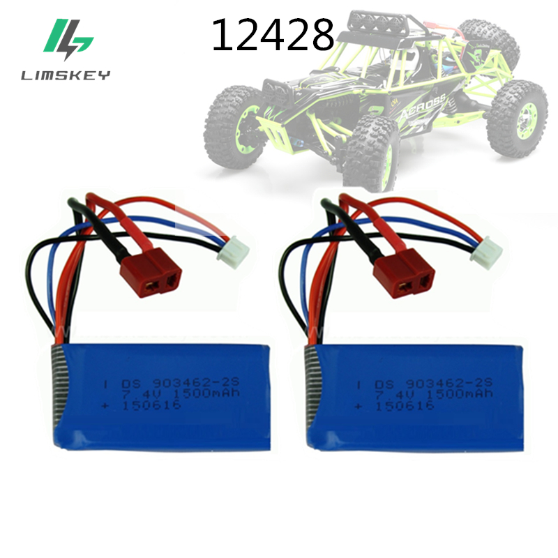 2pcs/sets 7.4v 1500mAh Lipo Battery 12423 12428 For Wltoys 12423 Crawler Car Battery 2S Lipo battery 1500mah 7.4 V 903462 front diff gear differential gear for wltoys 12428 12423 1 12 rc car spare parts