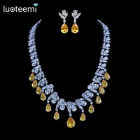 LUOTEEMI New Fashion Luxurious Classic Waterdrop CZ Crystal Pendant Yellow And Clear Zircon Choker Necklace Wedding