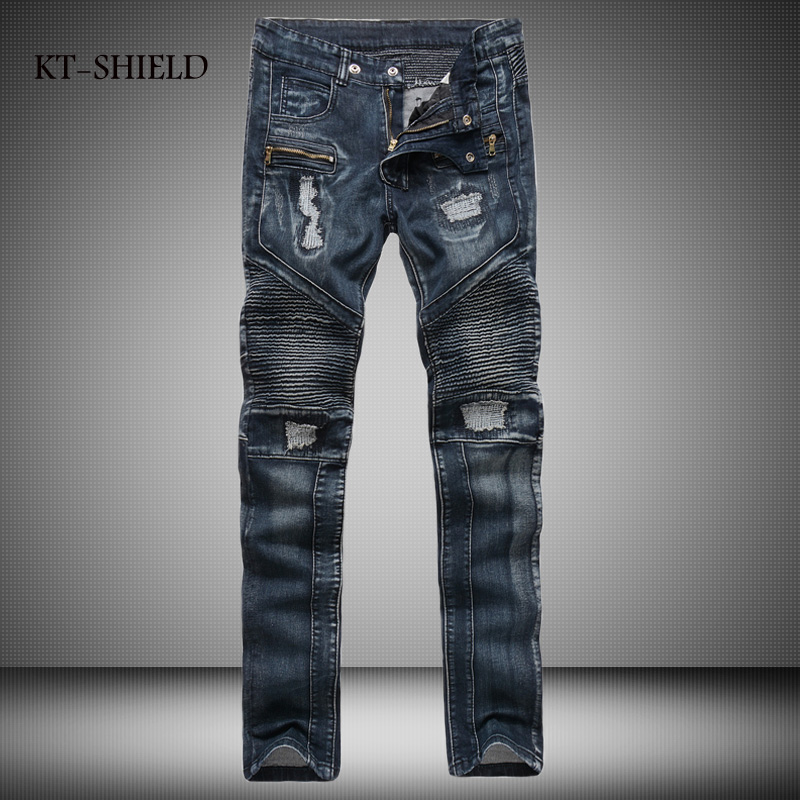 ФОТО Autumn men Cotton Pants long trousers sportswear man pants blue denim jeans biker pantalones fashion brand vaqueros hombre