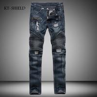Autumn men Cotton Pants long trousers sportswear man pants blue denim jeans biker pantalones fashion brand vaqueros hombre