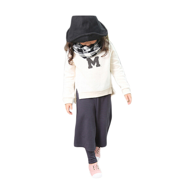 Winter Two Pieces Girls Clothing Sets Casual O-Neck Long Sleeve M Letter Children Kids Sport Clothes
