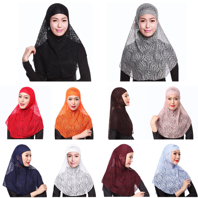 Arab Scarfs Full Cover Muslim Hat Hijab Two Piece Set Lace Hoofddoek Moslima Solid Islamic Head Turbans For Women Cap Beanies