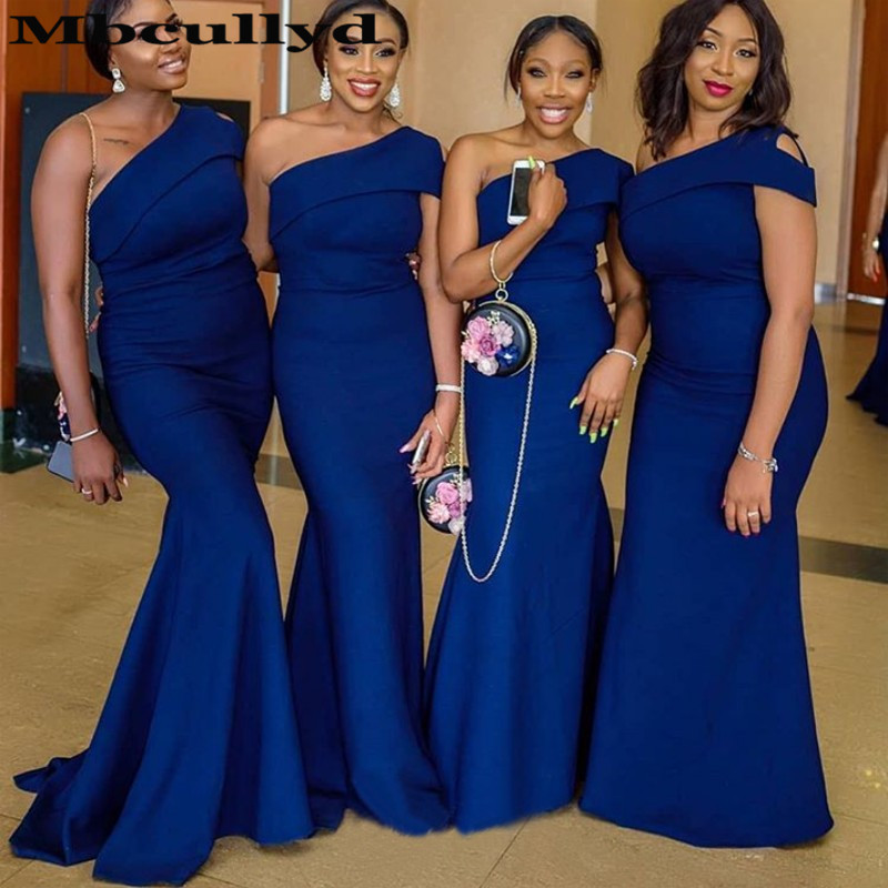 Affordable Wedding Guest Dresses: Mbcully Royal Blue African Bridesmaid Dress 2019 Mermaid
