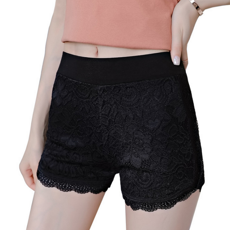 2019 Women Lace Short High Waist Lace Bodycon Shorts Seamless Solid Color Floral Hollow Out White Black