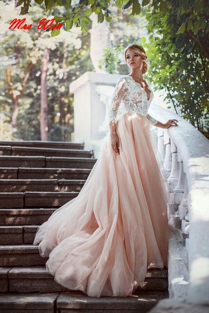 Romantic 2019 Lace Tulle Pink Wedding Dresses Deep V-neck 3/4 Sleeve Bride Dress Sexy Open Back Wedding Gown vestido de noiva