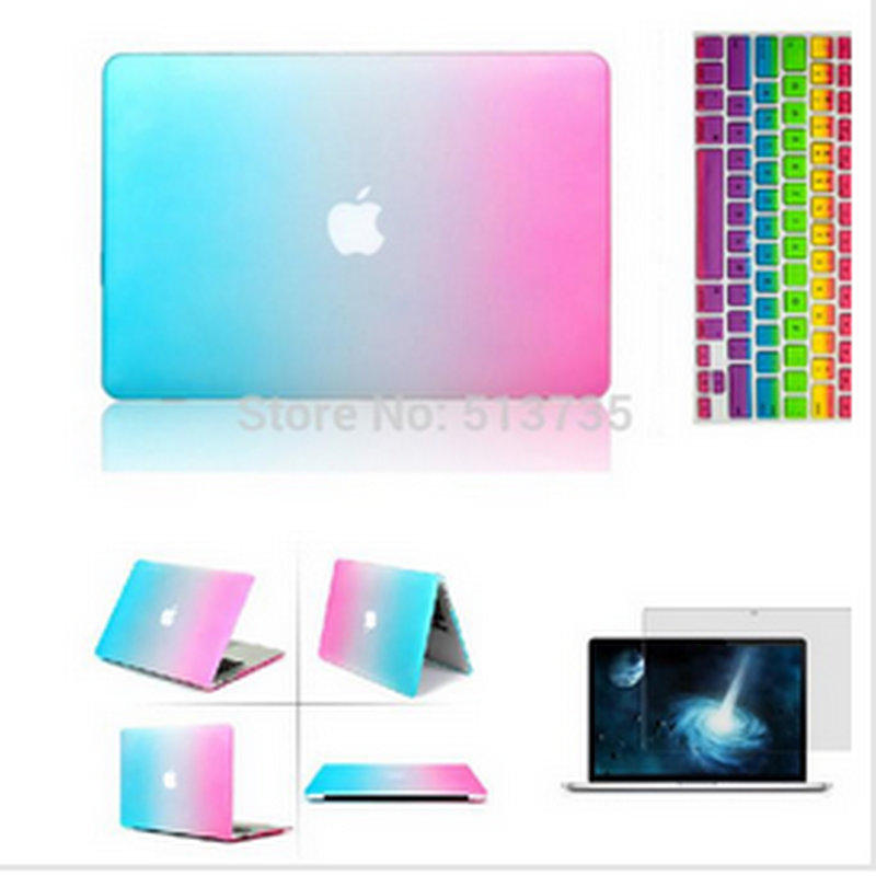 laptop 3 in 1 Rainbow Matt Case cover+ silicone Keyboard Cover+Screen Protector For Apple Mac Book Pro 11''/12
